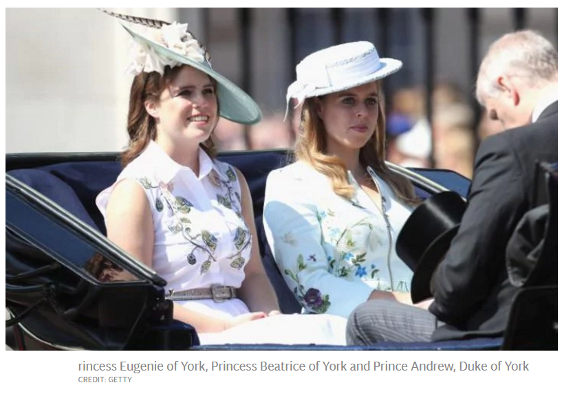 Princess Eugenie of York, Princess Beatrice of York and Prince Andrew, Duke of York CREDIT: GETTY