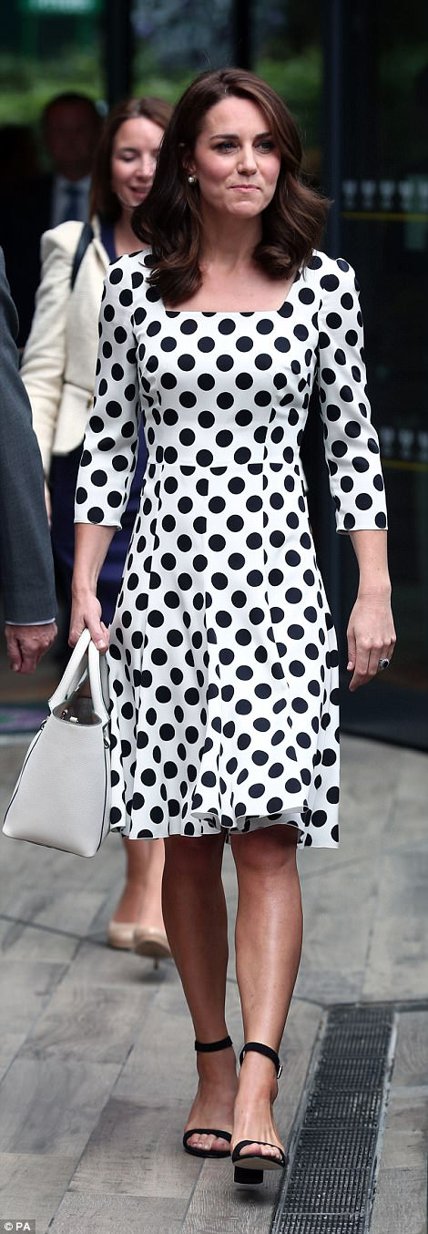 Kate eschewed her customary nude court shoes in favour of trendy black ankle strap sandals (left). Her usual clutch bag was also left at home with the royal opting for a white tote instead