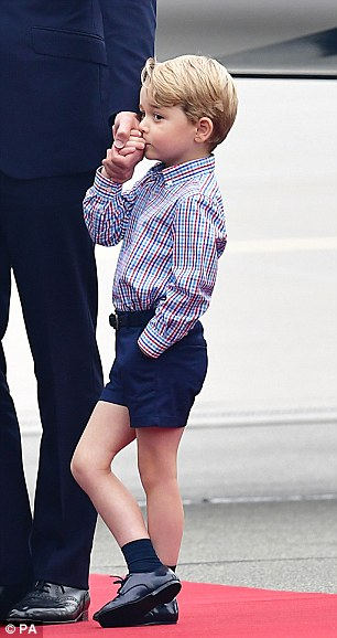One is not amused! Understandably Prince George seemed a little underwhelmed by the formality of the occasion and was seen fidgeting and swinging his legs as his father received an official welcome