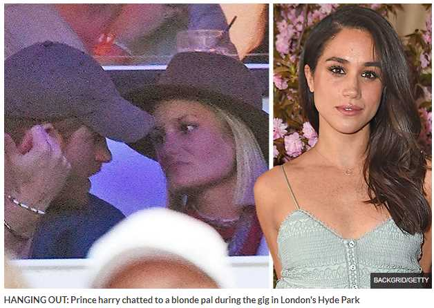 Prince harry chatted to a blonde pal during the gig in London's Hyde Park