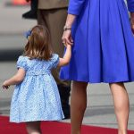 1 Two year old Charlotte easily stole the show pausing to point out the sights to her mother and toddling along towards the red carpet on her tiptoes