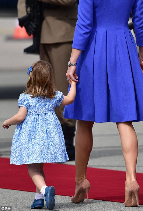 Two-year-old Charlotte easily stole the show, pausing to point out the sights to her mother and toddling along towards the red carpet on her tiptoes