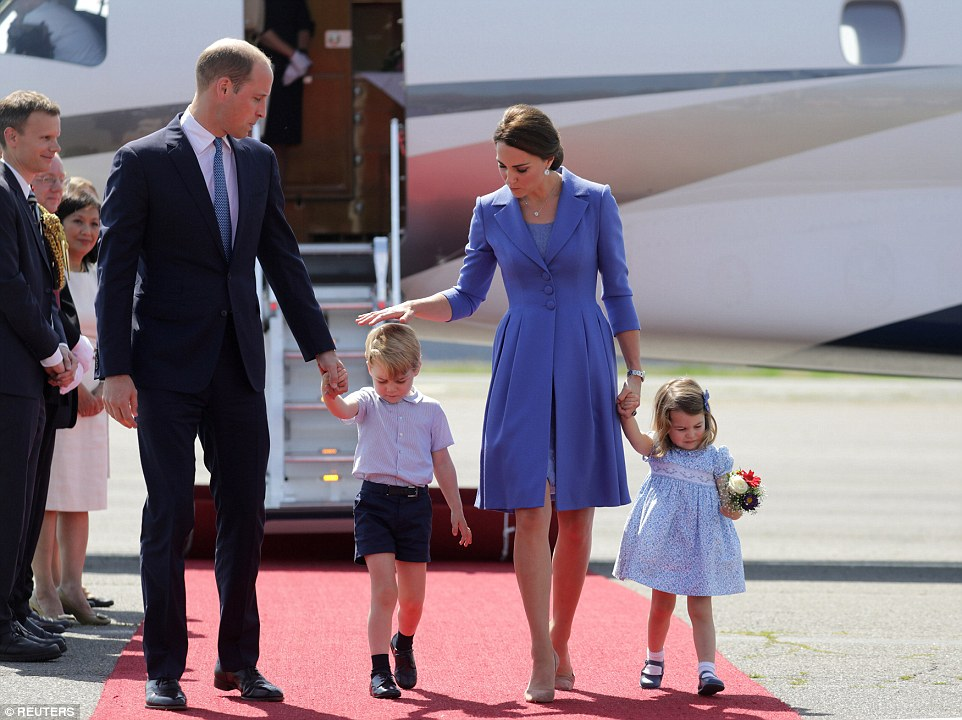 A reassuring pat on the head from Mummy After the formalities were done with, the Duchess was able to give George some much needed TLC