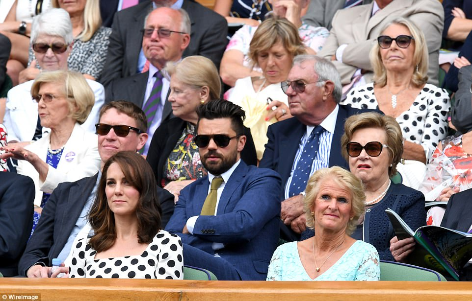 Actor Dominic Cooper, star of Mamma Mia and Captain America, sat behind the Duchess in the Royal Box, while Gill Brook