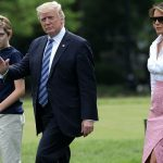 All three Trumps walked out shortly before the statement from her office which attacked Brzezinski