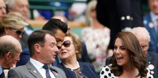 An animated Kate chats to Philip Brook and the Queens cousin the Duke of Kent in the Royal Box