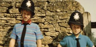Britains Prince William left and Prince Harry wear policemen outfits in a photo featured in the new ITV Photo The Duke of Cambridge and Prince Harry