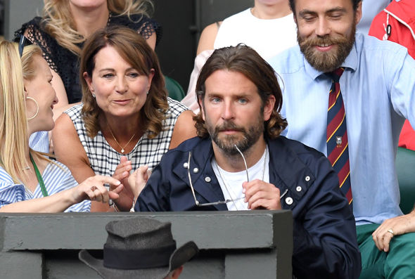 Carole Middleton and her son James at Wimbledon with actor Bradley Cooper Photo (C) GETTY IMAGES