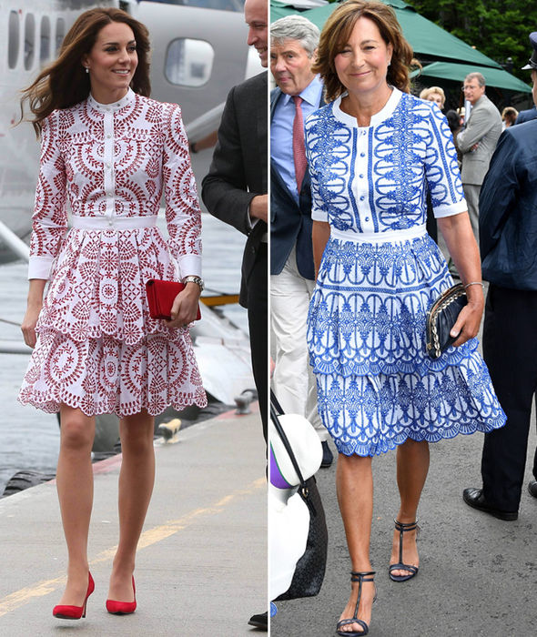Carole Middleton copied her daughter Kate with a broderie anglaise Alexander McQueen dress Photo (C) GETTY IMAGES