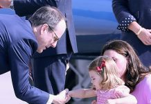 Charlotte gave another royal handshake before returning home Photo (C) GETTY IMAGES