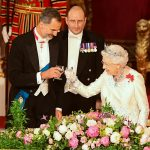 Cheers to that Queen Elizabeth and King Felipe VI of Spain share a toast during the State Banquet at Buckingham Palace