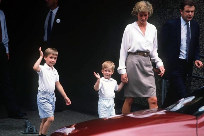 Diana with her sons Prince William and Prince Harry Photo (C) REX FEATURES