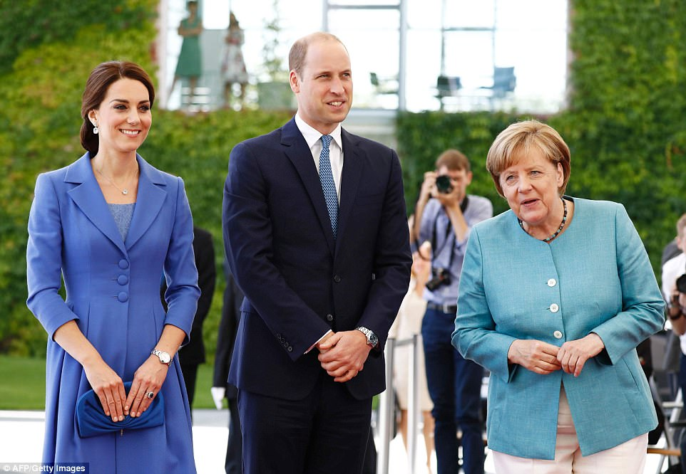 Diplomatic dresser Kate looked stunning in cornflower blue - the shade of Germany's national flower