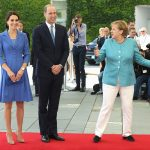 Do come in The German head of state looked delighted to welcome the royals to the Chancellery for lunch
