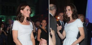 Duchess of Cambridge Kate donned a blue Preen Everly dress Photo C GETTY