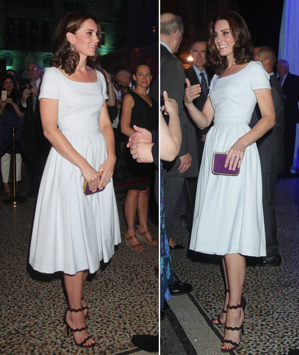 Duchess of Cambridge, Kate donned a blue Preen Everly dress Photo (C) GETTY