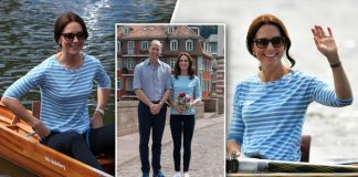 Duchess of Cambridge, Kate swapped her yellow lace for a striped top and jeans Photo (C) PA