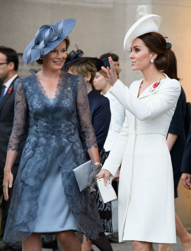 Duchess of Cambridge and Queen Mathilde attend the Last Post ceremony (Image Rex)