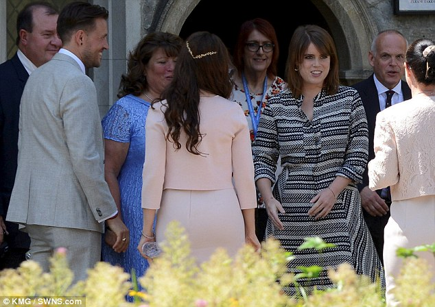 Special guest Newylweds Ben left and Emily Shaw right with Princess Eugenie on Friday