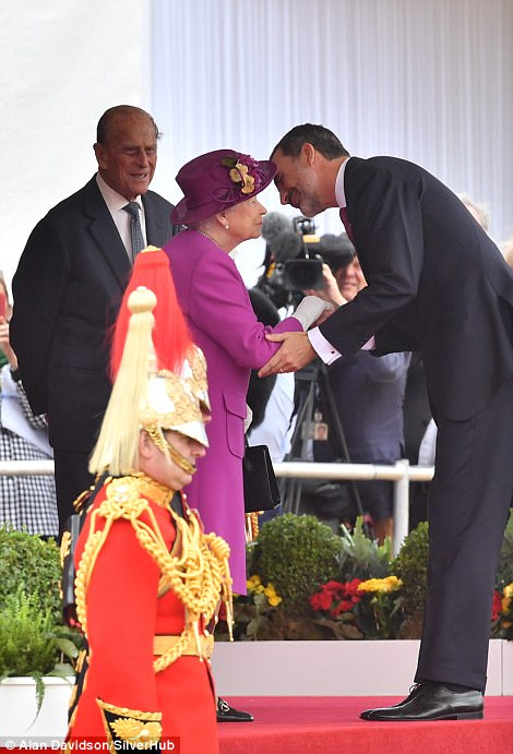 Felipe greets the Queen on Horse Guards Parade. Ahead of the meticulously-planned ceremony