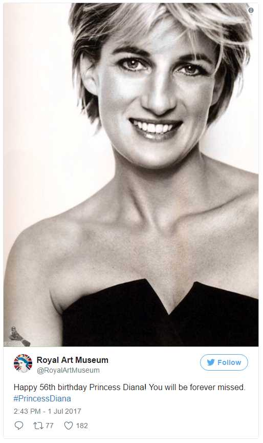 Happy 56th birthday Princess Diana! You will be forever missed Photo (C) TWITTER