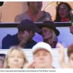 Harry was pictured chatting to the blonde at The Killers concert
