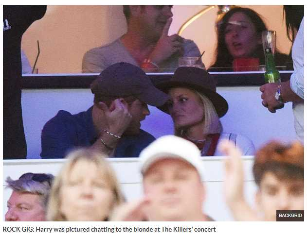 Harry was pictured chatting to the blonde at The Killers' concert
