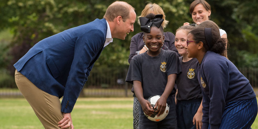 He might be able to play polo with his brother Prince Harry but it looks like Prince William might need a little help in the football department Photo C GETTY