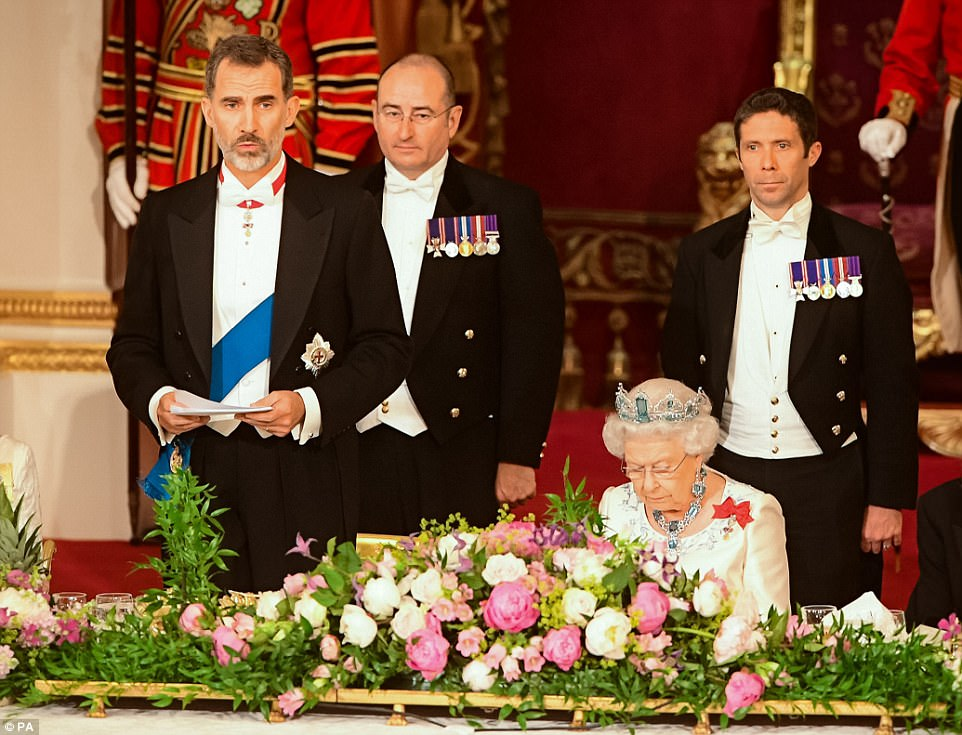 In his speech, King Felipe said 'Spain stands united with the British people, who at this time of suffering have once again shown dignity and strength of character'