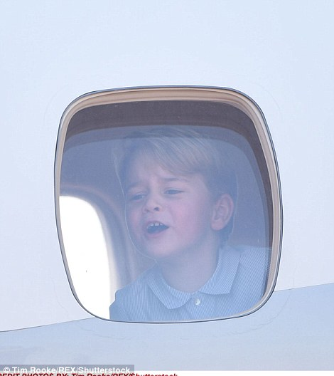 Initially George looked delighted to be arriving in Berlin, but was overcome by tiredness once he got off the plane