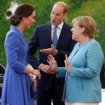 Introducing my wife Prince William looked delighted to have the chance to introduce Kate to German Chancellor Angela Merkel in Berlin this afternoon