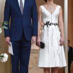 Kate's white sleeveless number was designed by Gosia Baczynska Photo C EPA
