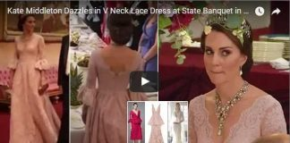 Kate Middleton Dazzles in V Neck Lace Dress at State Banquet in Honour of Spanish Royal