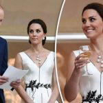Kate dazzled in a dress designed by a top Polish fashion designer at a garden party in Warsaw Photo EPA