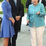 Kate had to apologise to the German leader today when asked if she spoke German