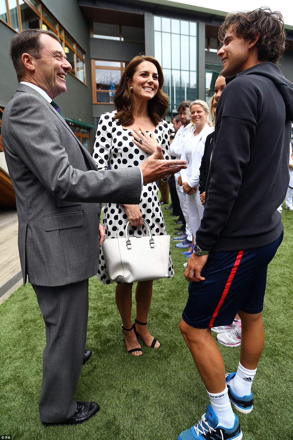 Kate was certainly in her element as she chatted to Austrian player Dominic Thiem, who is dating former beauty queen Romana Exenberger