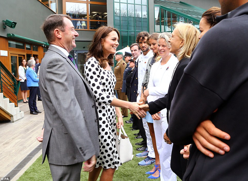 Kate was introduced to tennis legend Martina Navratilova ahead of Andy Murray's match on Centre Court