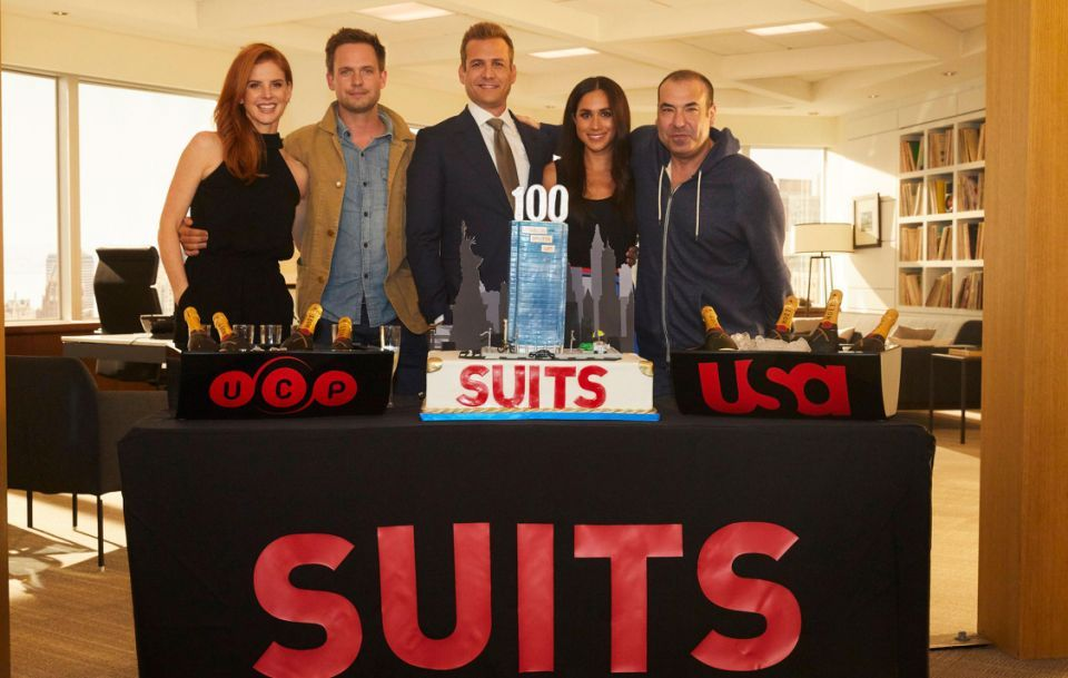 Meghan was most recently spotted with co-stars from the popular legal drama to celebrate its 100th episode. Source Getty
