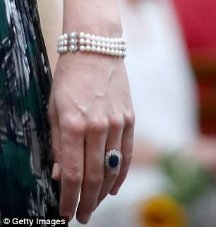 The Duchess of Cambridge has been spotted borrowing from Princess Diana's jewellery box, wearing one of the late royal's pearl bracelets