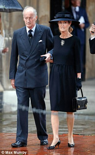 Norton Knatchbull, Earl Mountbatten of Burma (formerly lord Brabourne) and wife Penny, Countess Mountbatten of Burma attends the funeral of Countess Mountbatten of Burma at St. Paul's Knightsbridge