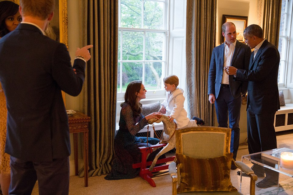 President Barack Obama talks with the Duke of Cambridge while the Duchess of Cambridge plays with Prince George; at left First Lady Michelle Obama talks with Prince Henry of Wales, at Kensington Palace in London April 22, 2016. (Official White House Photo by Pete Souza)