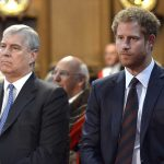 Prince Andrew and Prince Harry appeared deep in thought as they attended