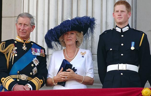 Prince Charles, Camilla Parker Bowles, and Prince Harry Photo (C) GETTY IMAGES