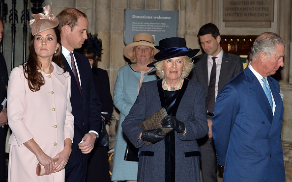 LONDON, ENGLAND - MARCH 09: (L-R) Catherine, Duchess of Cambridge, Prince William, Duke of Cambridge, Camilla, Duchess of Cornwall and Prince Charles, Prince of Wales attend the Observance for Commonwealth Day Service At Westminster Abbey on March 9, 2015 in London, England. (Photo by John Stillwell/ - WPA Pool/Getty Images)