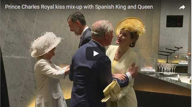 Prince Charles Royal kiss mix up with Spanish King and Queen