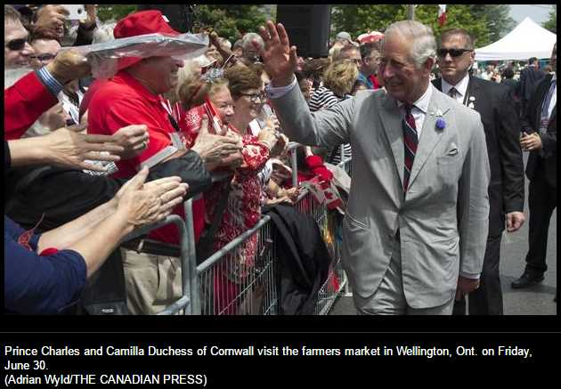 Prince Charles and Camilla Duchess of Cornwall visit the farmers market in Wellington, Ont. on Friday, June 30.