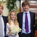 Prince Christian Ernsts brother left was a witness at the intimate civil ceremony at Hanover Town Hall alongside friend of the couple Dina Amer right