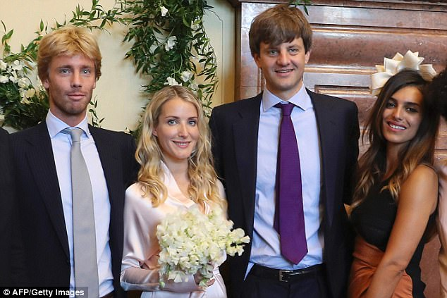 Prince Christian, Ernst's brother, left, was a witness at the intimate civil ceremony at Hanover Town Hall alongside friend of the couple, Dina Amer, right