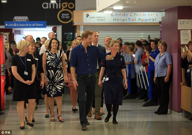 Prince Harry during a visit to Leeds Children's Hospital, on the second day of his two-day visit to the city