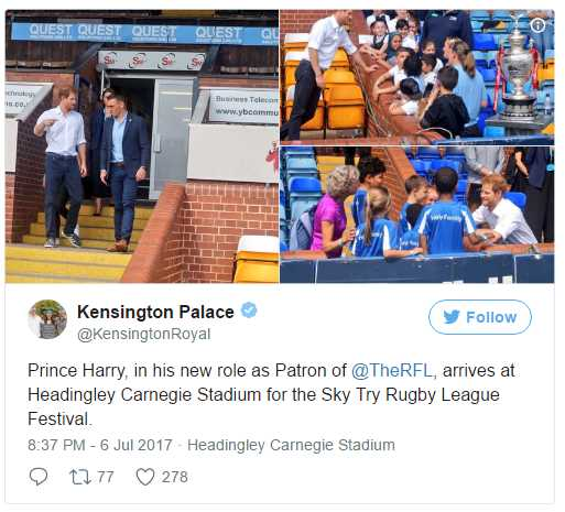 Prince Harry, in his new role as Patron of @TheRFL, arrives at Headingley Carnegie Stadium for the Sky Try Rugby League Festival. Photo (C) TWITTER